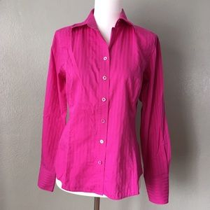 Ann Taylor Bright Pink Professional Button Up Top